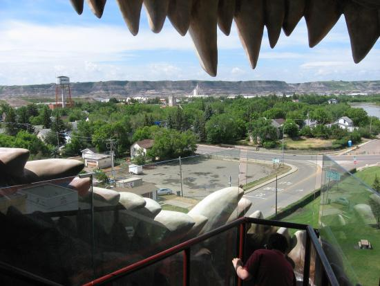 World's Largest Dinosaur: View of Drumheller from inside the dinosaur's mouth