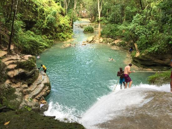 Liberty Tours Jamaica - Day Tours: Going down the falls