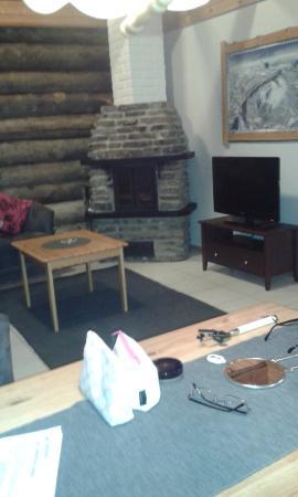 Levi Log Cabins: Log burner in lounge area