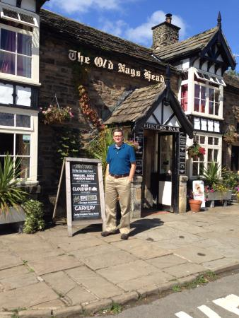 In front of the Old Nags Head in Edale.