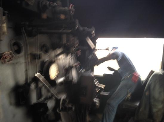 Cumberland, MD: Steven the engineer aboard 734 coaxes her up the hill