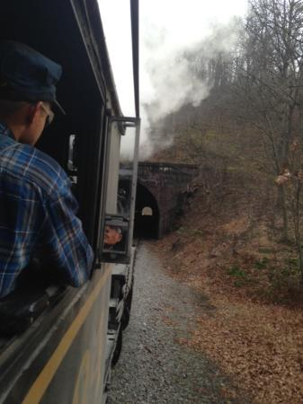Western Maryland Scenic Railroad: Engineer's view of Brush Mountain Tunnel