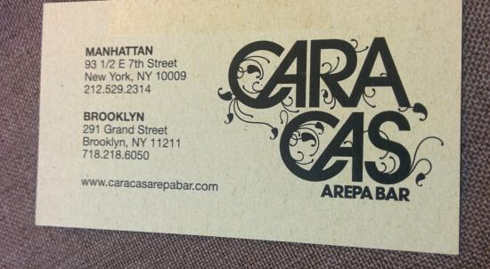 Caracas business card picture of caracas arepa bar new york city caracas arepa bar caracas business card reheart Gallery