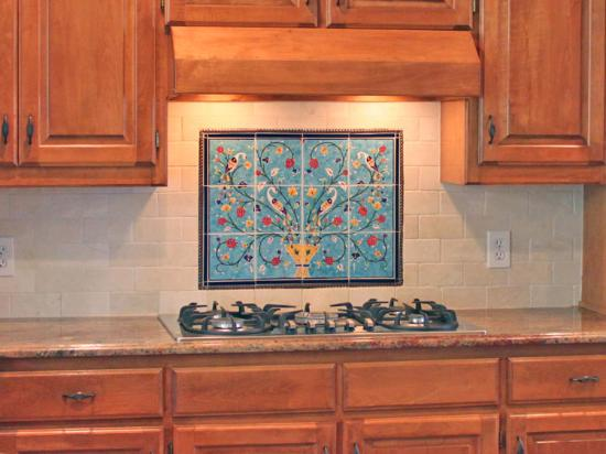Pomegranate Tile Mural Backsplash