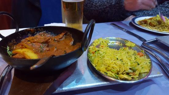 Maharani Restaurant: Lamb jalfrezi, vegetable rice