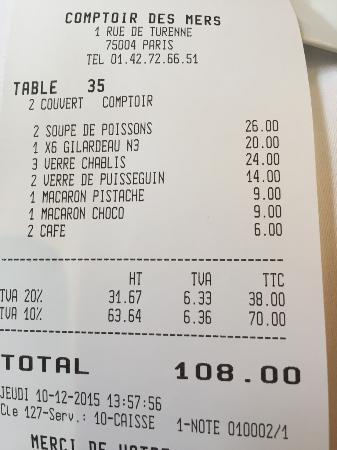 Bill photo de le comptoir des mers paris tripadvisor - Le comptoir des mers paris ...
