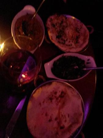 Karma Lounge : Caviar d'aubergines à l'indienne-Epinards hachés crème & fromage