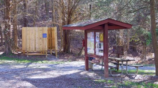 Warriors' Path State Park: MTB trails trailhead. This requires a drive from the main park property.