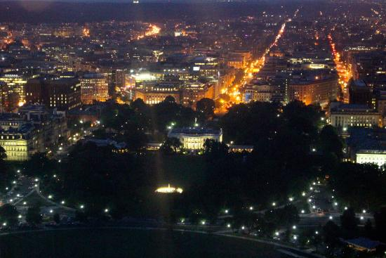View of white house at night from inside the washington monument view of white house at night from inside the washington monument sciox Choice Image