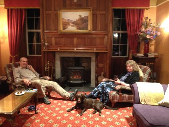 Spittal of Glenshee, UK: Relaxing in Dalmunzie Castle Hotel.