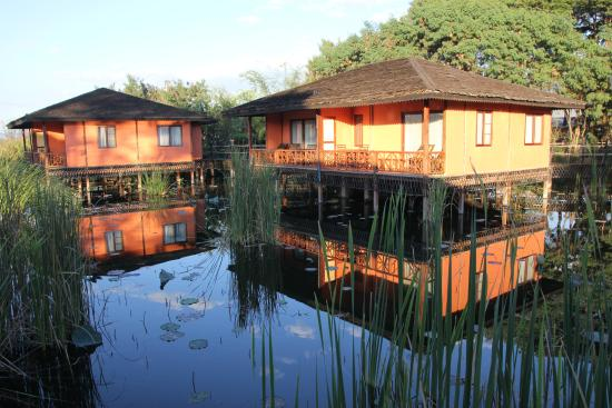 One of the cottages on stilts in the water gardens