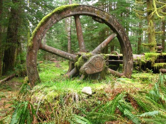the huge flywheel on the 1909 steam engine at the Lucky Jim Gold Mine, Quadra Island, Canada