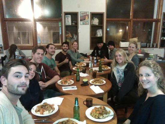 On Top Backpackers: Guests Enjoying a Winters Dinner