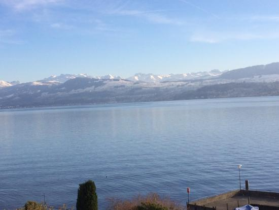 Hirschen am See: Mountains and Lake Zurich from our room window