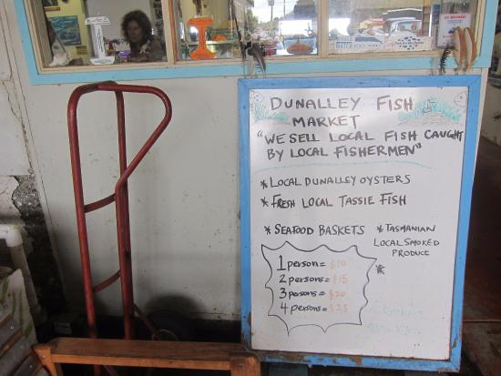 menu picture of dunalley fish market dunalley tripadvisor. Black Bedroom Furniture Sets. Home Design Ideas