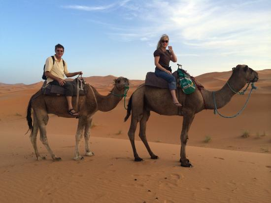Erfoud, Morocco: Fun camel ride to see sunset.  Mohammed chose an excellent camel driver for us.