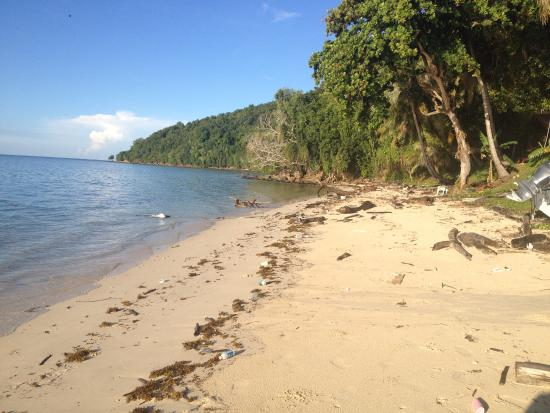 Manukan Island, Malasia: Beach front the morning after a storm - the marine debris was cleared by 10 am