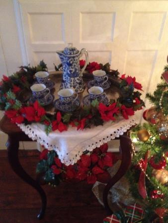 Lincoln, RI: This table is set for a sip of Victorian hot chocolate, chocolate pot and all!