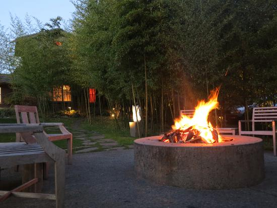 Coast Cabins: Evening fire at communal fire pit.