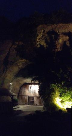 Montlouis-sur-Loire, Frankrig: The entrance to the restaurant at night.