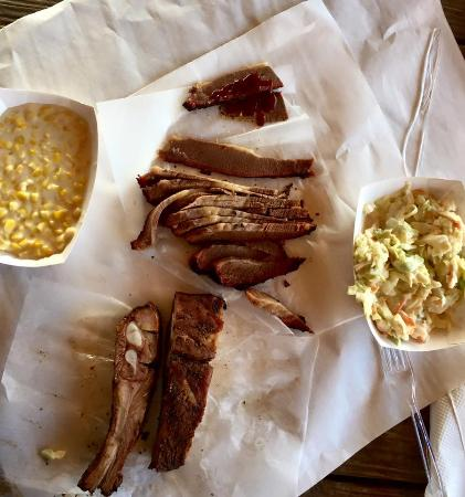 Rudy's Country Store & Bar B Q: 1/2lb of brisket, 1/2lb of ribs, creamed corn, and coleslaw