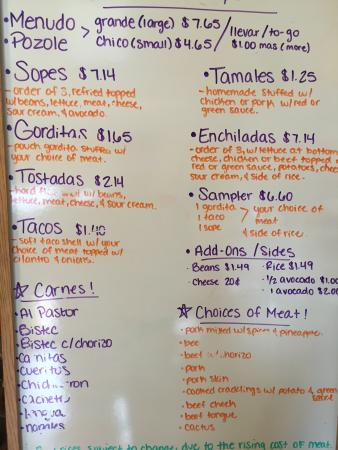 Menu Board Picture Of Tacos Mi Pueblo Texarkana Tripadvisor