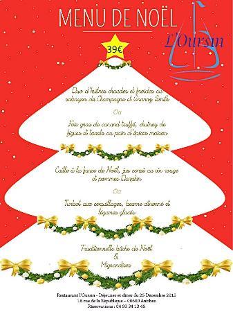 carte menu de noel Menu de Noel 2015 Restaurant l'Oursin   Picture of L'Oursin
