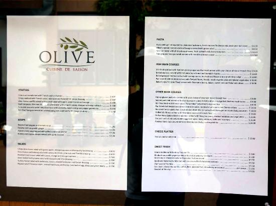 menu board picture of olive cuisine de saison siem reap tripadvisor. Black Bedroom Furniture Sets. Home Design Ideas