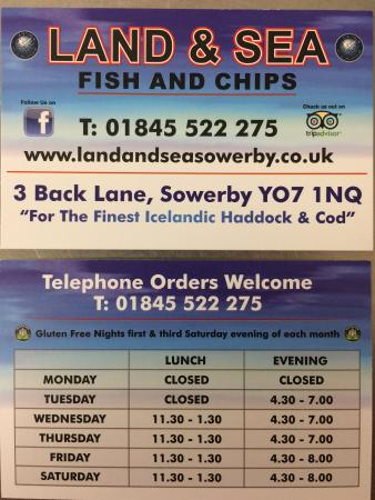 Check out our new business cards complete with our opening times on land sea check out our new business cards complete with our opening times reheart Choice Image