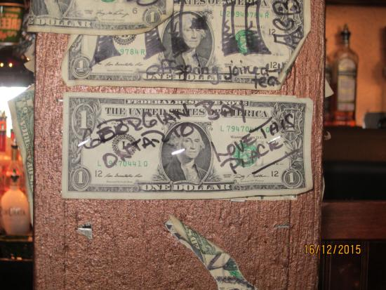 Lynch's Irish Pub: the dollar bill we signed and put up