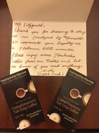 Courtyard Salt Lake City Airport: Note from the manager! Being a Platinum Elite has it's privilegesprivilages