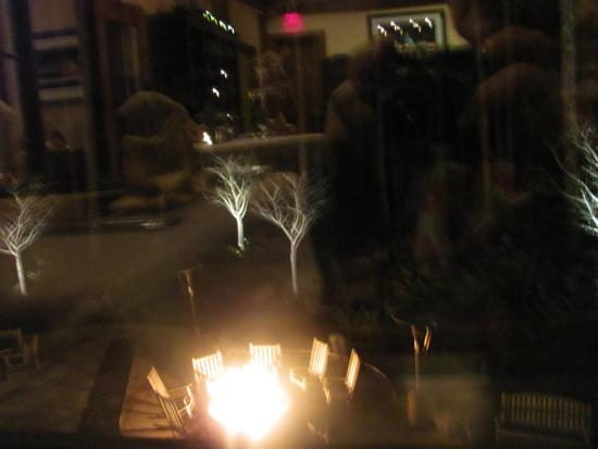 The Lodge at Woodloch: Outdoor view of the fire pit from the dining room.