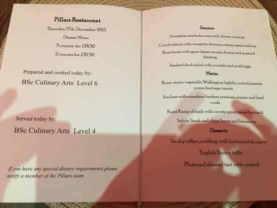 Pillars Restaurant: menu