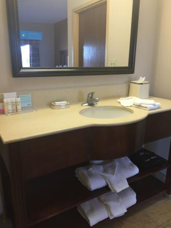 Hampton Inn and Suites Lake City: The sink is separate from the toilet and shower. It was stocked with our towels & washcloths.
