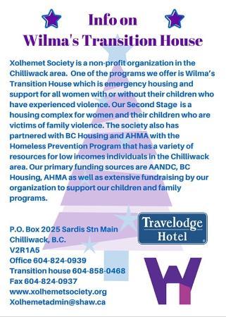 Travelodge Chilliwack: Wilma's Transition House