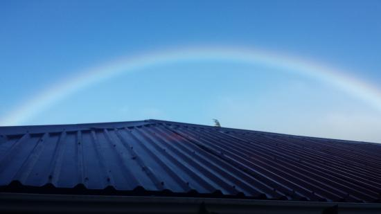 Monteverde Rustic Lodge: Rainbow view from lobby