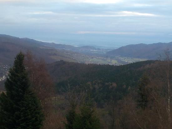 Auberge Obersolberg : vue du balcon sur la vallée