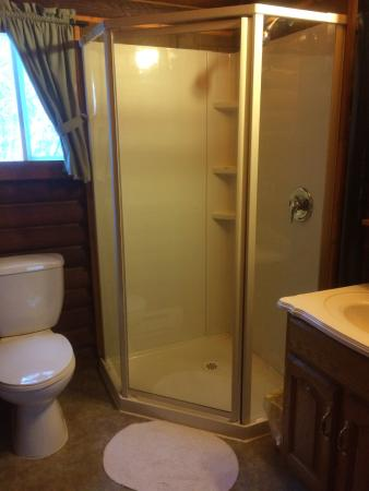 Bakers Narrows Lodge Log Cottages Have 3 Piece Bathrrom With A Standup Shower