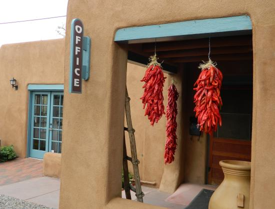 "Pueblo Bonito Bed and Breakfast Inn: Red chile ristra are emblems of ""welcome"" to our guests of Inn at Pueblo Bonito Santa Fe."