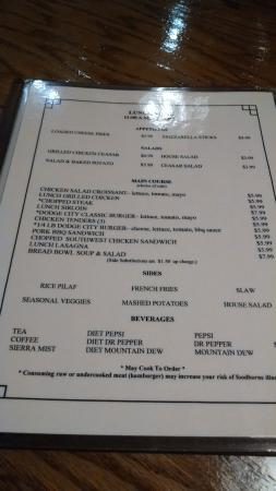 Lunch Menu Picture Of Dodge City Steak House Wilkesboro Tripadvisor