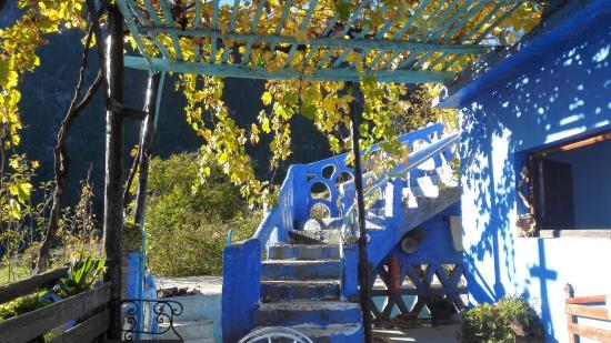 Gite Azilane: prachtige trap en druiven boven terras