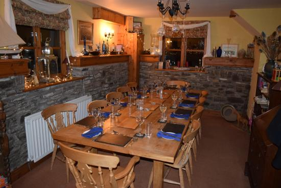 Felindre, UK: Dining area, beautifully laid out for us with many interesting artifacts that the owners have co
