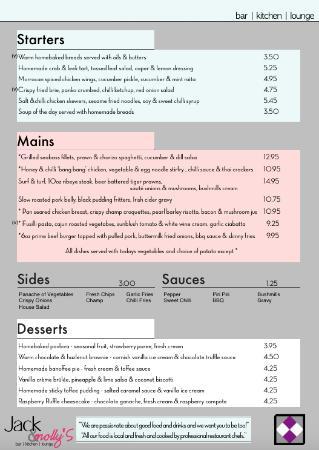 Chekkers: JacknMollys Restaurant Menu