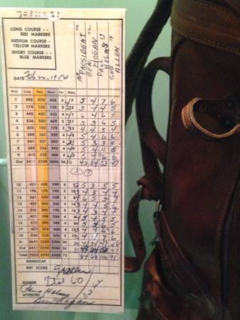 Abilene, KS: Museum - Golf Scorecard (Ike and Hagan) and Clubs