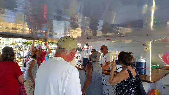 Simpson Bay, St. Maarten-St. Martin: Captain John with on-board visitors.