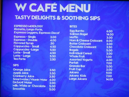 W fort lauderdale cafe menu w fort lauderdale living for W living room fort lauderdale