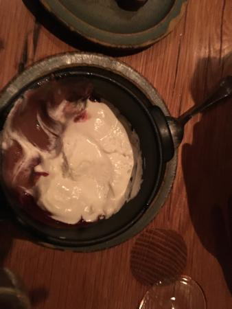 Fairfax, CA: milk chocolate pudding with creme fraiche --looks ho hum but so good!