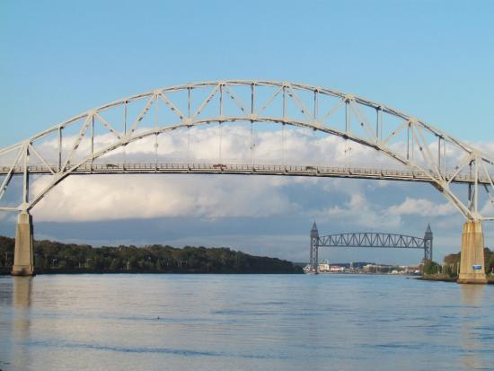 Buzzards Bay, MA: Cape Cod Canal Railway Bridge beyond the Bourne Bridge