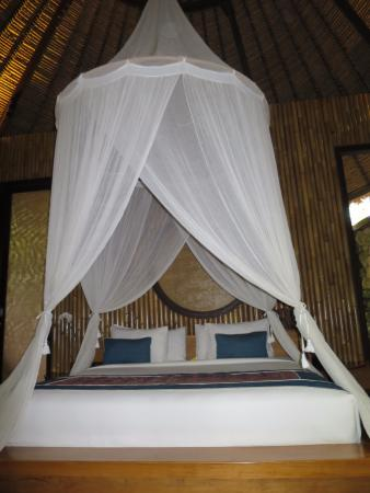 Mambal, Indonesien: King-sized bed with a canopy that works!