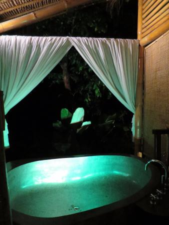 Mambal, Indonesien: Riverfront private bath -- you can choose the lighting!